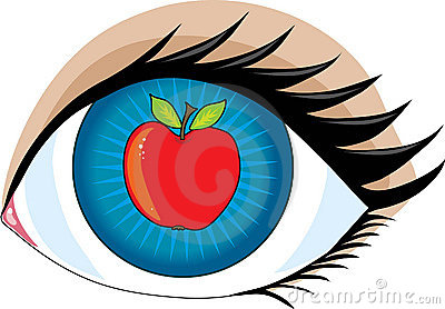 An apple in the center of an eye - the apple of my eye.