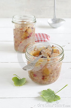 Free Apple Onion Chutney With White Currants And Red Pepper Stock Image - 76515971