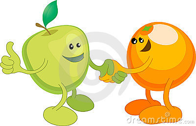 Apple and Orange happily shaki