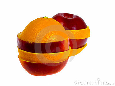 Apple and Orange. Isolated on white.