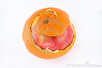 Apple in orange peel