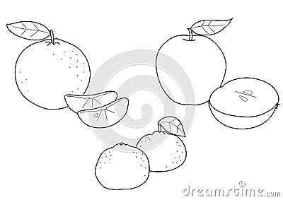 Apple orange and tangerine, BW