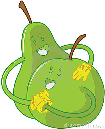 Apple and pear cartoons embracing