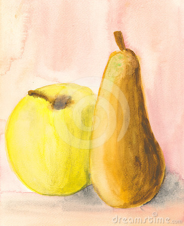 Apple and pear - watercolour painting