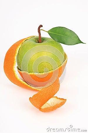 Apple in a peel from an orange