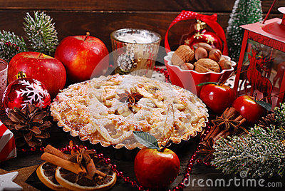 Apple pie for christmas stock photo image 62206432 for Apple pie decoration