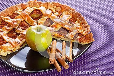 Apple pie with cinnamon