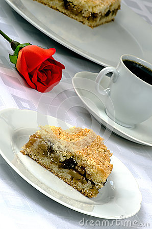 Free Apple Pie With A Cup Of Coffee And Red Rose Stock Photos - 52522313