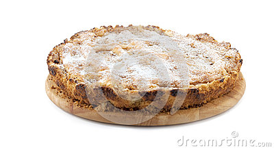 Apple-pie on a wooden plate