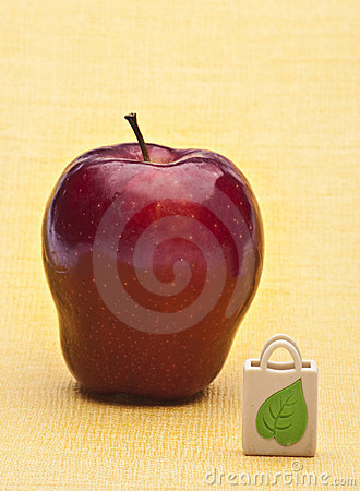 Apple and Reusable Grocery Bag