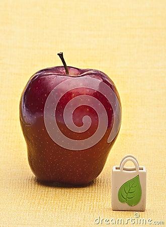 Apple and Reusable Grocery Bag