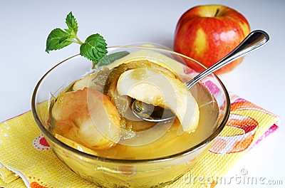 Apple and rhubarb fruit compote