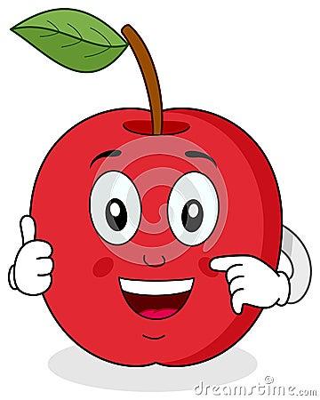 Apple rouge manie maladroitement vers le haut du caractère