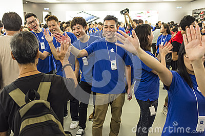 Apple Sales and Apple Fans Editorial Stock Photo