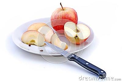 Apple, Slices, Knife, Plate