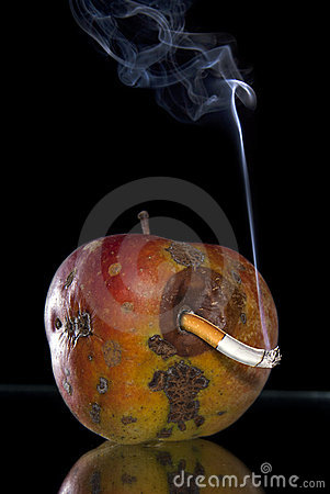 Apple and smoking butt look like worm