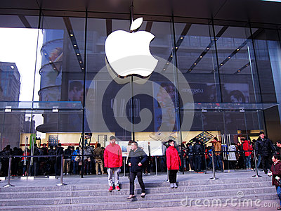 Apple store with logo in Shanghai Editorial Image