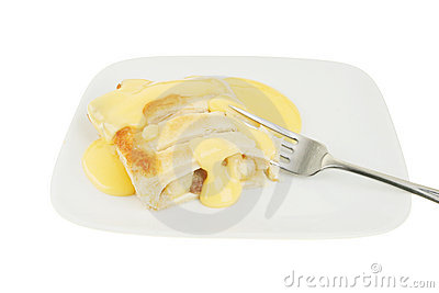 Apple strudel and custard