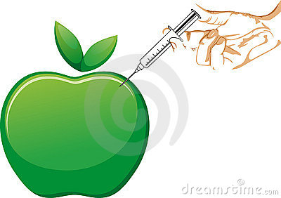 APPLE AND SYRINGE IN HAND