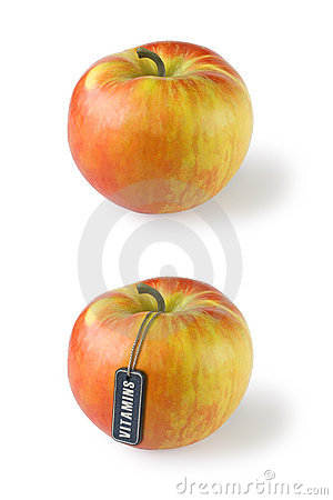 Apple with tag Vitamins