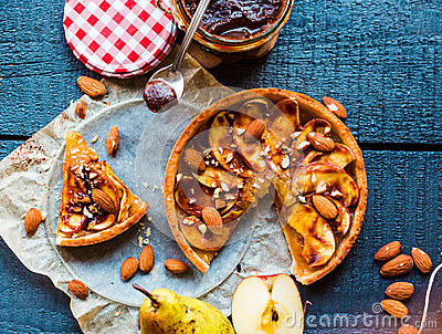 Apple tart with caramel, a piece of cake, top view Stock Photo