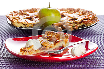 Apple tart dessert with cream