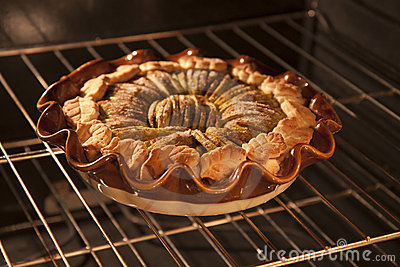 Apple tart in oven