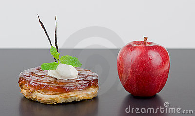 Apple tart Tatin with red apple