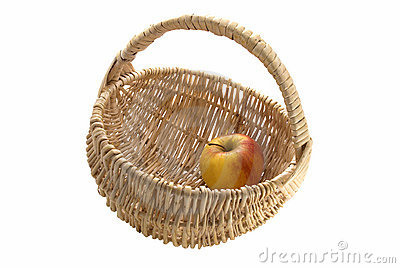 Apple in to wicker basket