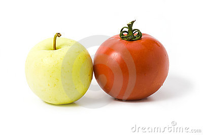 Apple and tomato isolated