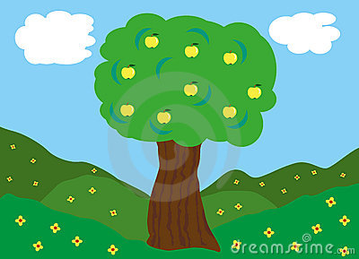 Apple tree on green fields