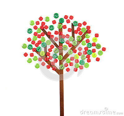 Apple tree made of buttons and ribbon