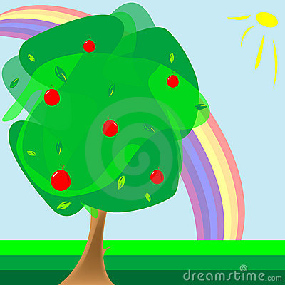 Apple tree and rainbow