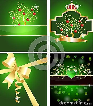 Free Apple Tree, Ribbon And Heart Cards Stock Photos - 17794393