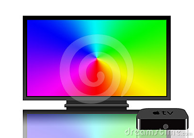 Apple TV and television screen Editorial Image