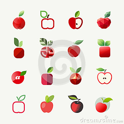 Apple. Vector logo templates set. Elements for design