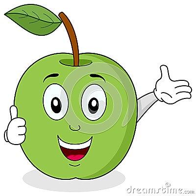Apple verde manuseia acima do caráter