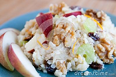 Apple walnut rice salad