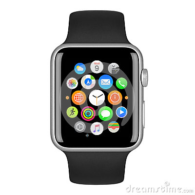 Free Apple Watch Sport Silver Aluminum Case With Black Sport Band Stock Images - 62095464