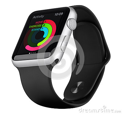 Free Apple Watch Sport Silver Aluminum Case With Black Sport Band Stock Photos - 62753523
