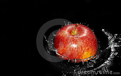 Apple in water splash