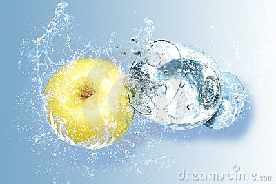 Apple and water splashes