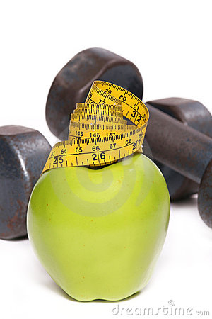Apple and Weights with Tape measure