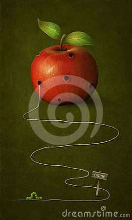 Free Apple With Holes. Stock Image - 24335511