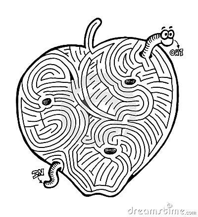 Free Apple With Worm Maze Stock Photos - 1157903