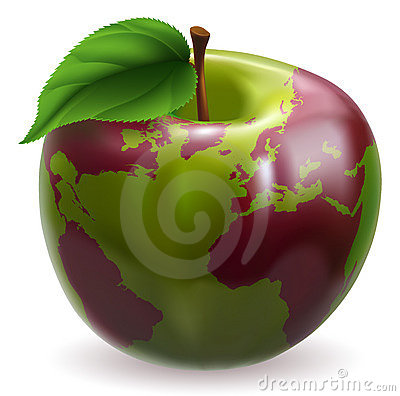 Apple world globe