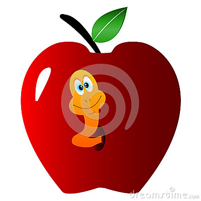 Apple with a worm