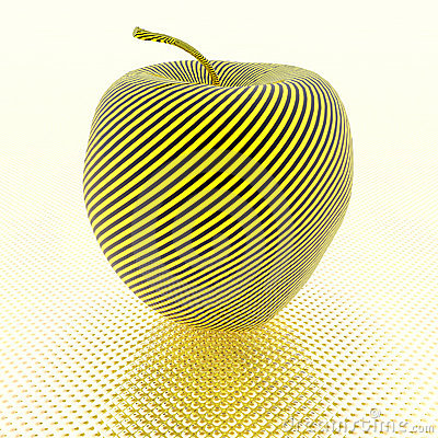 Apple with yellow stripe texture