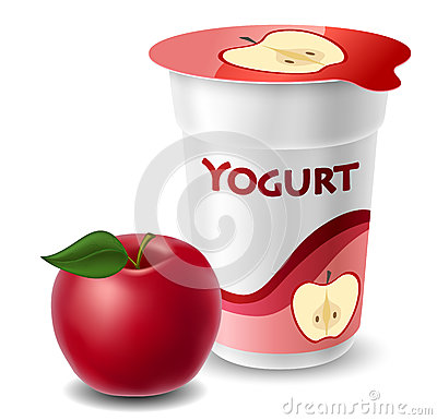 Apple yogurt cup with red apple