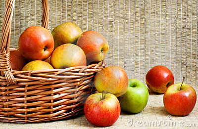 Apples in a basket, soft focus